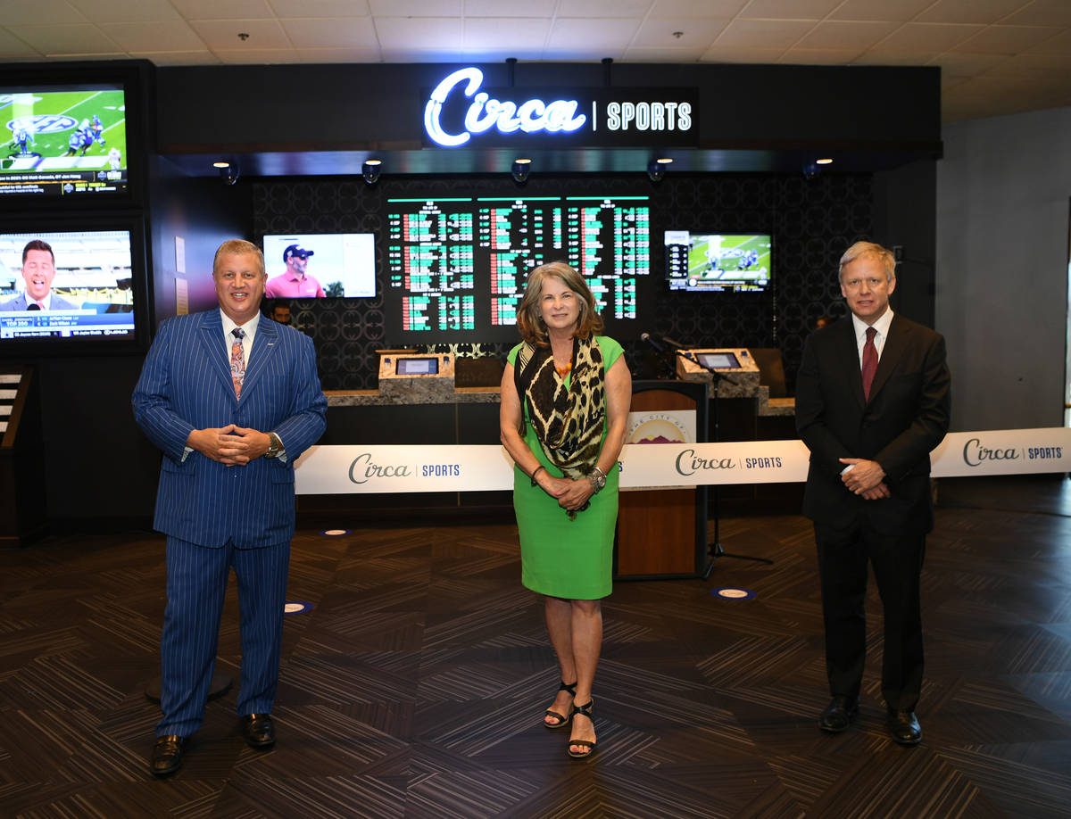 CEO of Circa Sports Derek Stevens, mayor of Henderson, Nevada Debra March and The Pass Casino O ...