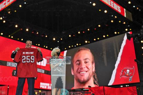 A Mr. Irrelevant jersey is held up for the Tampa Bay Buccaneers' pick during the seventh round ...