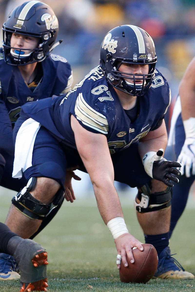 Pittsburgh offensive lineman Jimmy Morrissey (67) plays against Miami in an NCAA college footba ...