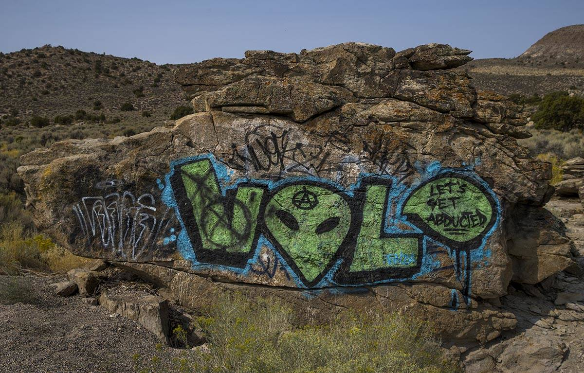 A painted rock with alien motif marks a spot on S.R. 375 between Hiko and Rachel on Thursday, S ...
