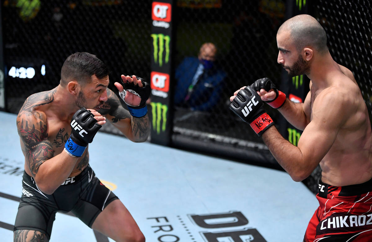 Cub Swanson battles Giga Chikadze of Georgia in a featherweight bout during the UFC Fight Night ...