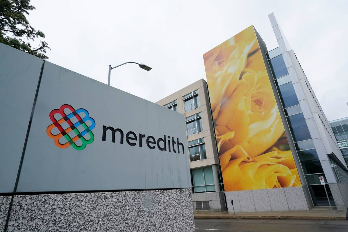 The headquarters of Meredith Corp. is shown, Monday, May 3, 2021, in Des Moines, Iowa. (AP Phot ...