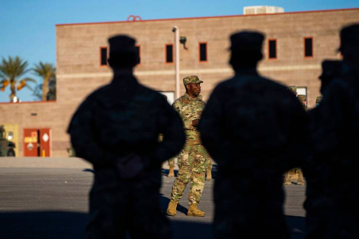 Maj. Gen. Ondra L. Berry addresses members of the Nevada National Guard as they prepare to depl ...