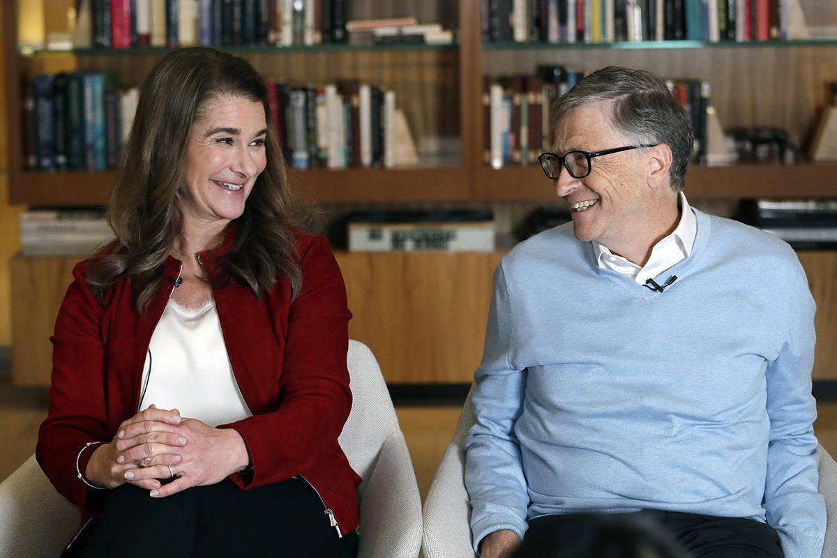 FILE - In this Feb. 1, 2019, file photo, Bill and Melinda Gates smile at each other during an i ...
