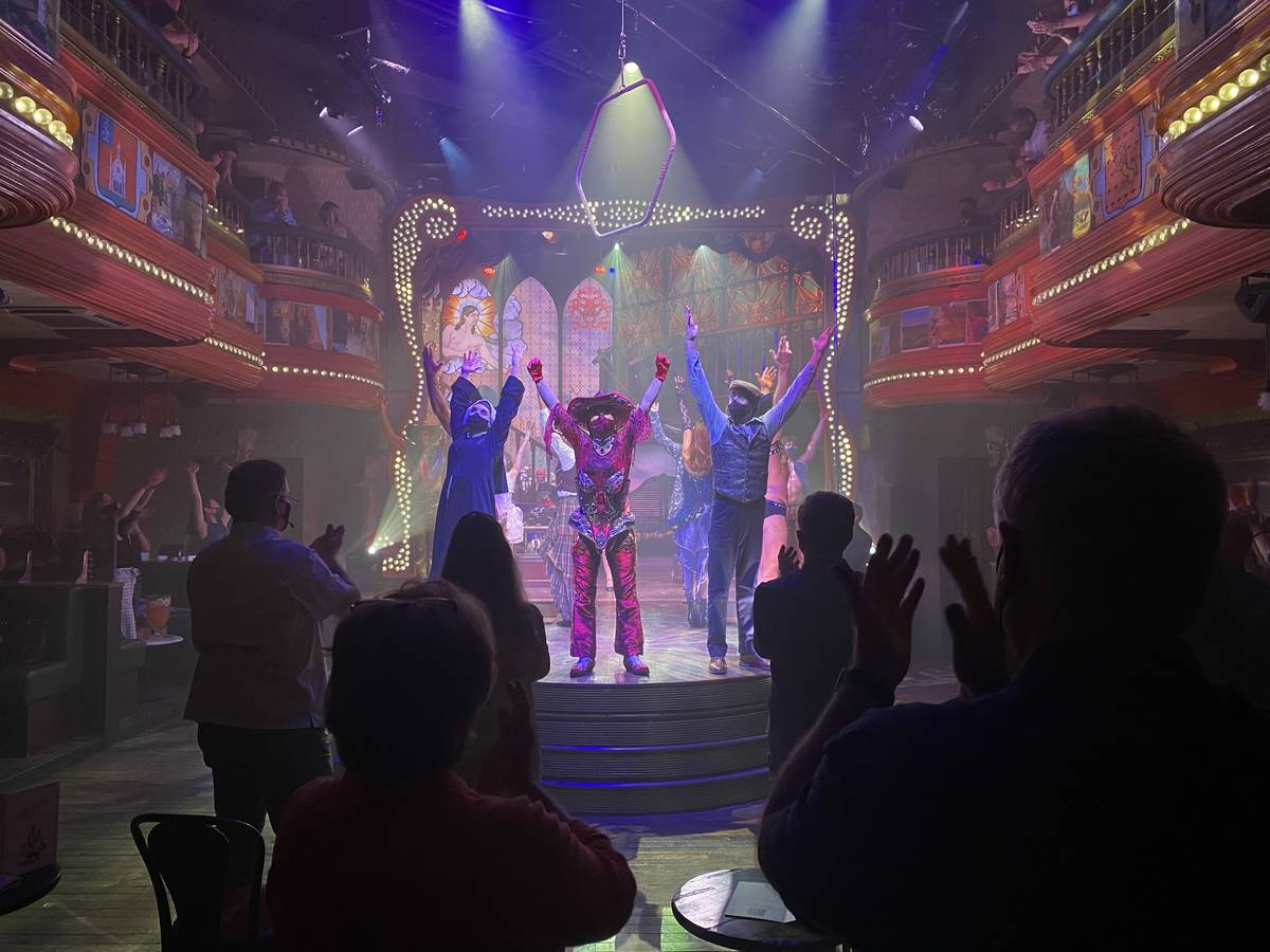 """The cast of """"Atomic Saloon Show"""" bows it out on its return to the stage at The Venetian on Wedn ..."""