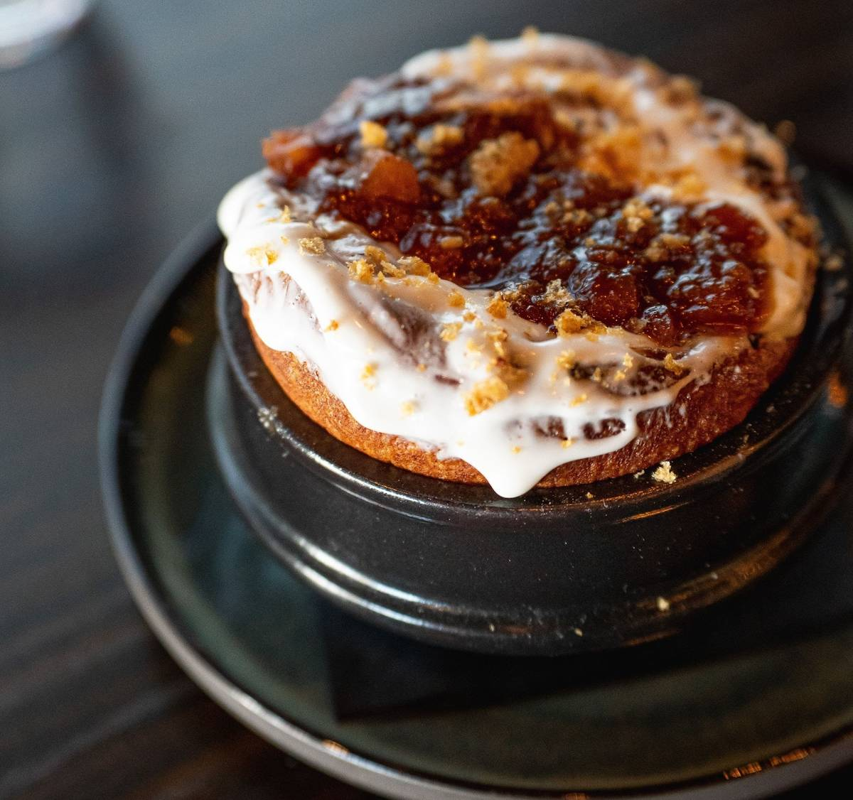 Duck confit cinnamon roll at Sparrow + Wolf. (Sparrow + Wolf)