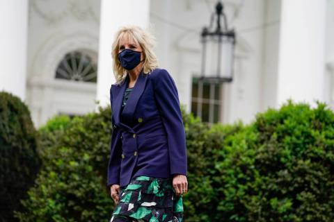 First lady Jill Biden arrives to participate in an Arbor Day tree planting ceremony at the Whit ...