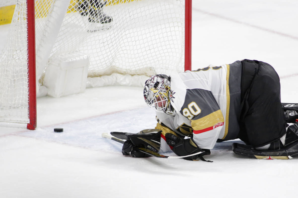 Vegas Golden Knights goaltender Robin Lehner reacts after a goal was scored by Minnesota Wild l ...