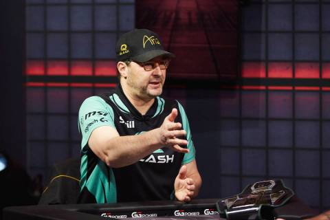 "Phil Hellmuth gestures during his victory over Daniel Negreanu in their ""High Stakes Duel"" broa ..."