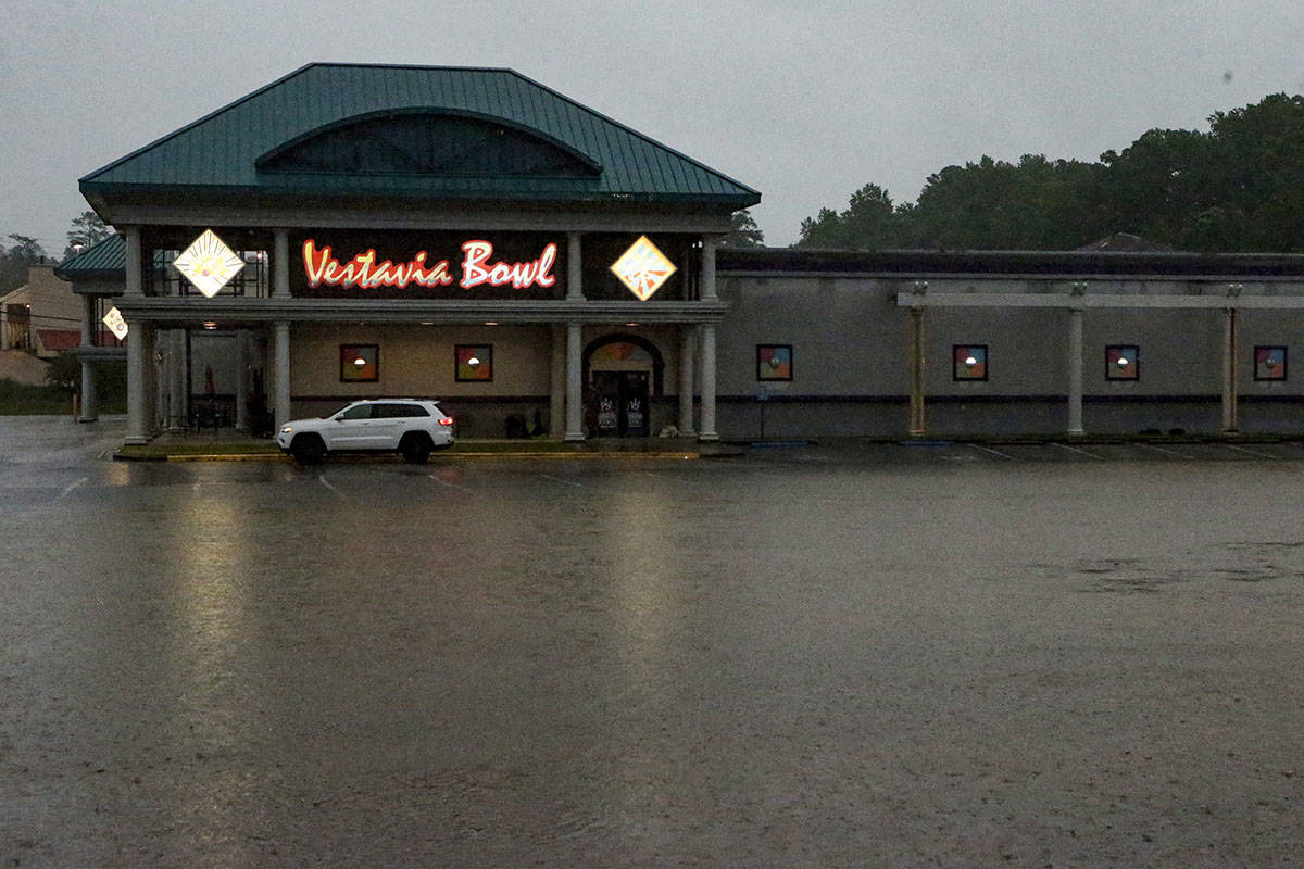 A parking lot is flooded as severe weather produces torrential rainfall, Tuesday, May 4, 2021 i ...