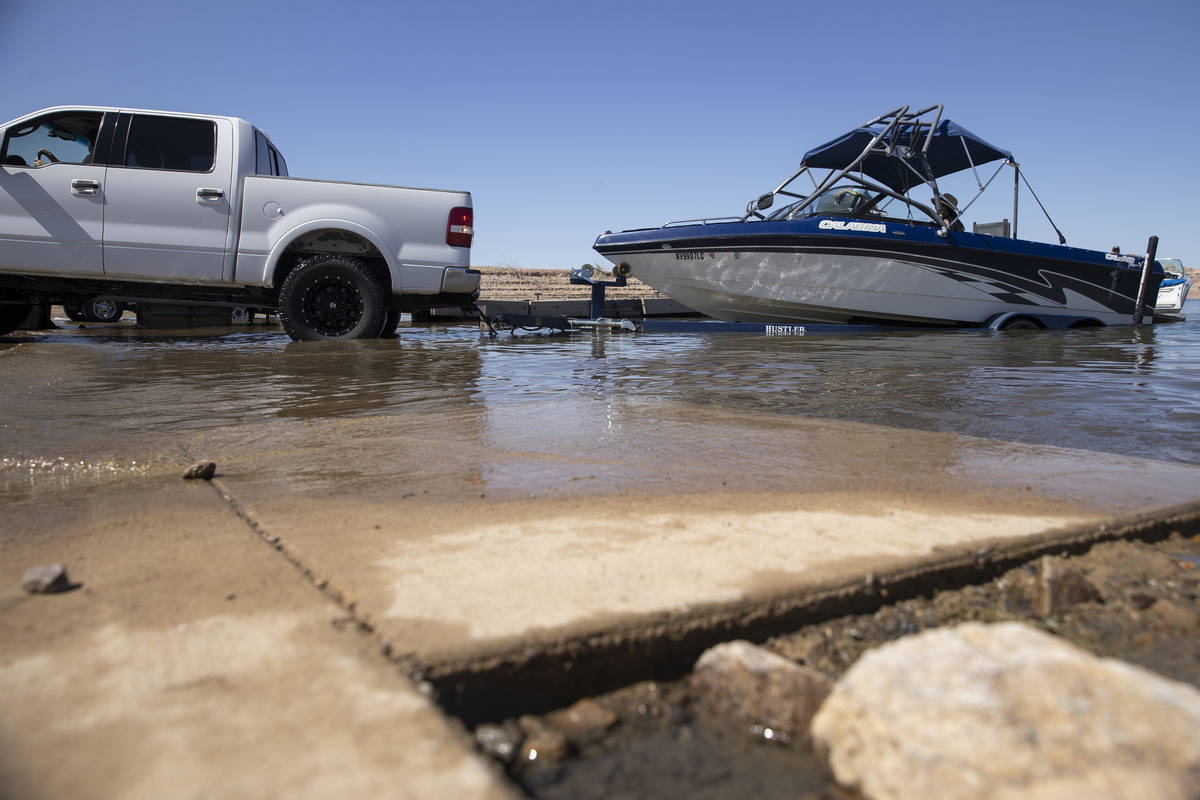 A boat is moved to the water at Hemenway Harbor in Boulder City, Wednesday, May 5, 2021. (Erik ...