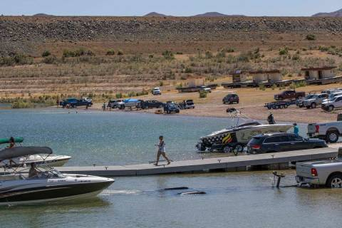 Boaters put in and out of the water at the Boulder Harbor in the Lake Mead National Recreation ...