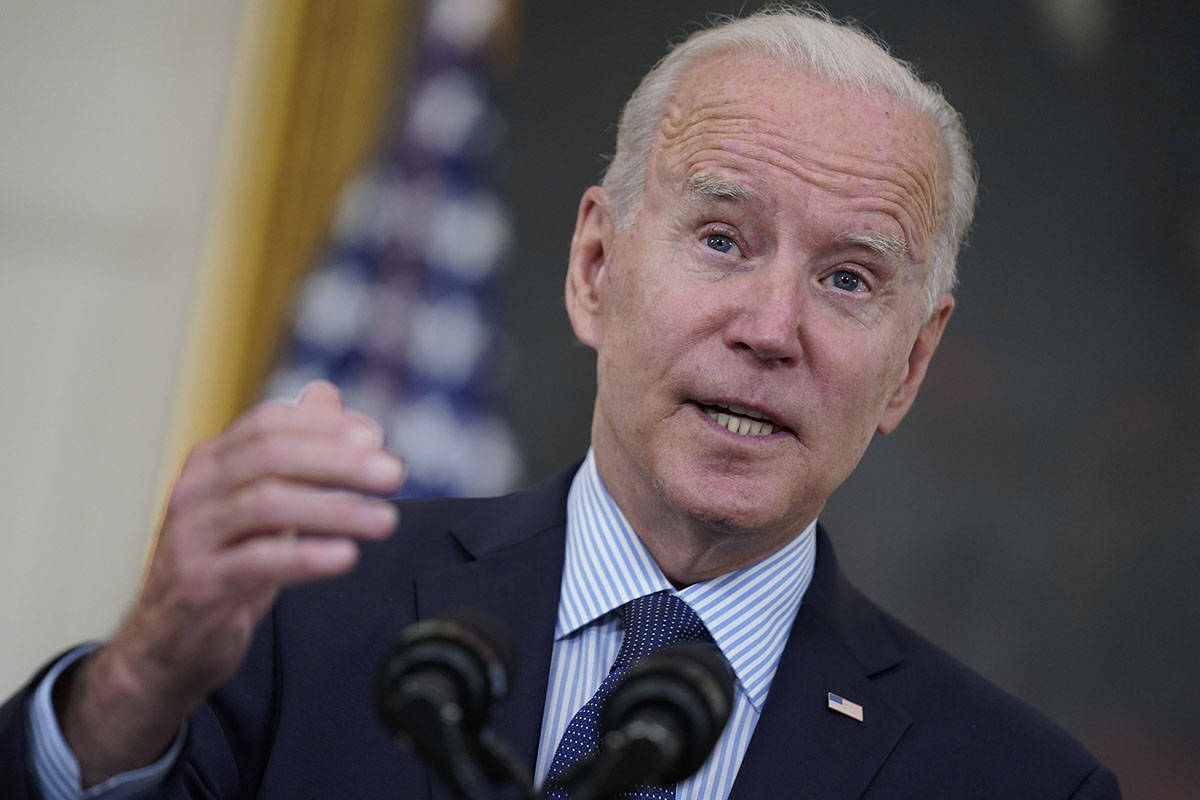 President Joe Biden speaks about the COVID-19 vaccination program, in the State Dining Room of ...