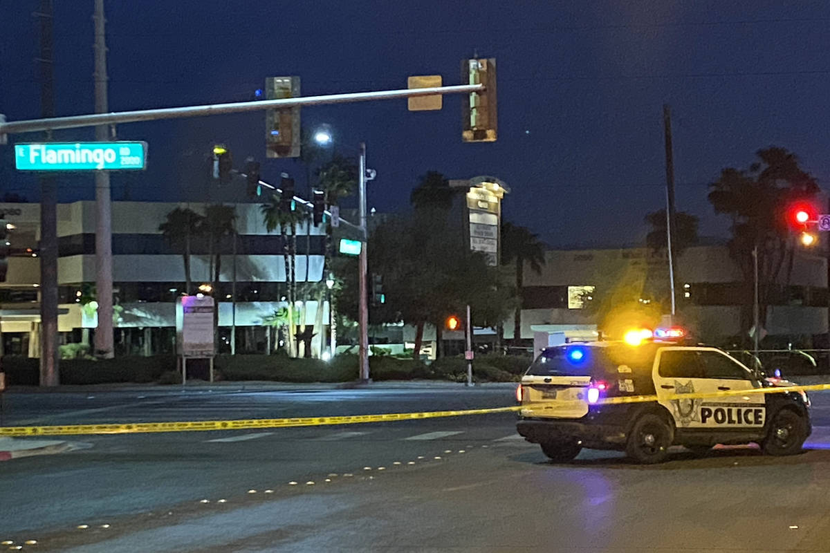 Las Vegas police investigate a fatal hit-and-run crash at the intersection of Flamingo Road an ...
