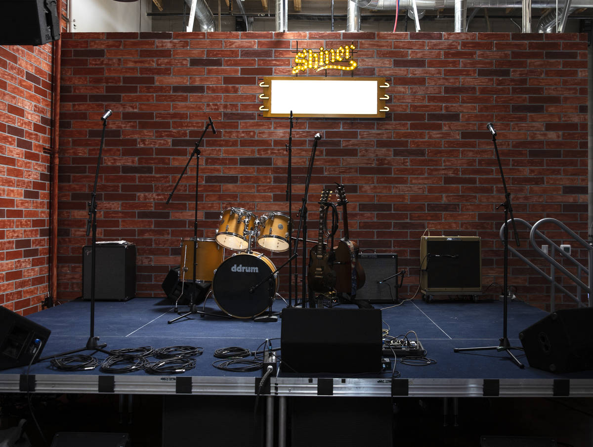 The stage at Soulbelly BBQ, Arts District BBQ spot, on Tuesday, May 4, 2021, in Las Vegas. (Biz ...