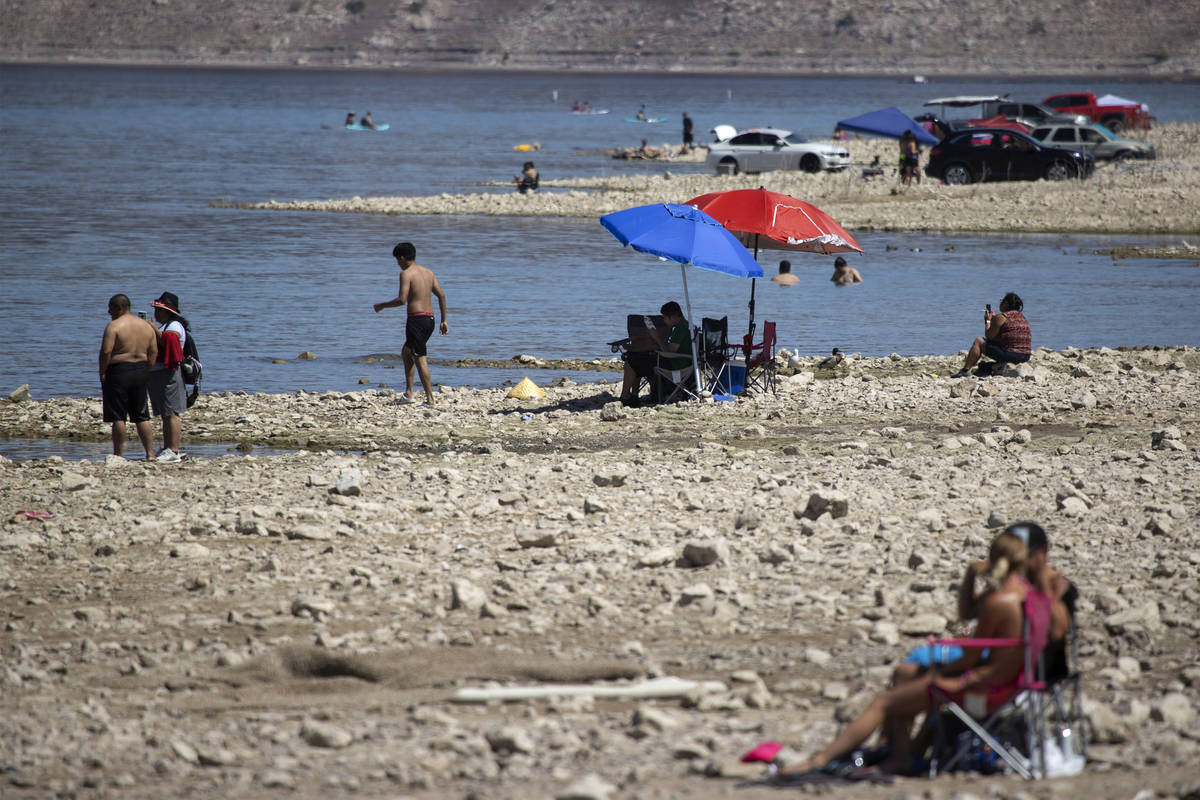 People enjoy Boulder Beach in Boulder City on Wednesday, May 5, 2021. (Erik Verduzco/Las Vegas ...
