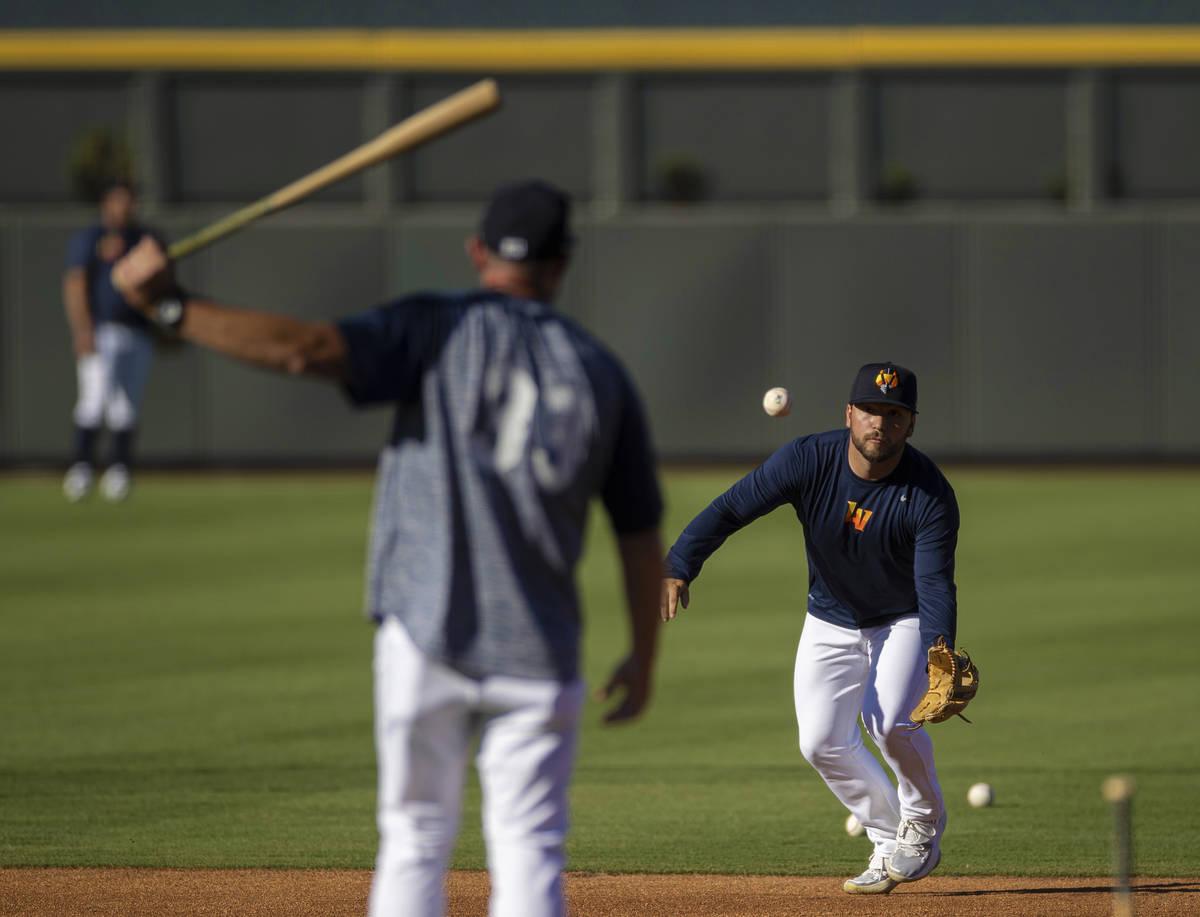 Aviators infielder Nate Mondou fields a ground ball during practice at Las Vegas Ballpark on Tu ...