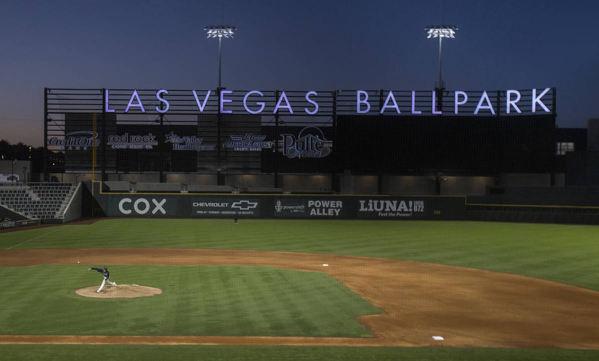 Aviators pitcher Brian Howard pitches in a simulated game during practice at Las Vegas Ballpark ...