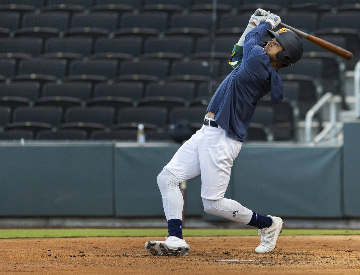 Aviators outfielder Buddy Reed takes a big cut during a simulated game at Las Vegas Ballpark on ...