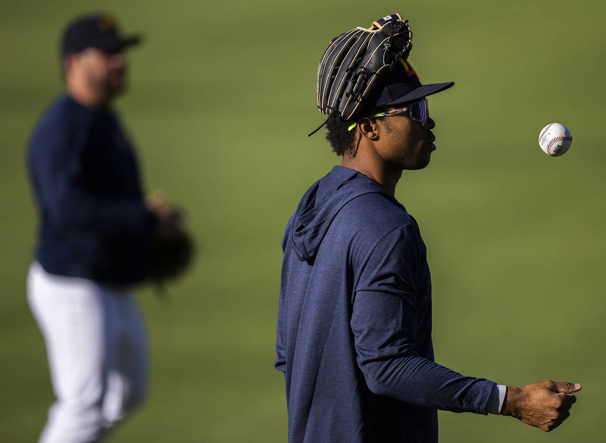 Aviators outfielder Buddy Reed warms up before the start of practice at Las Vegas Ballpark on T ...