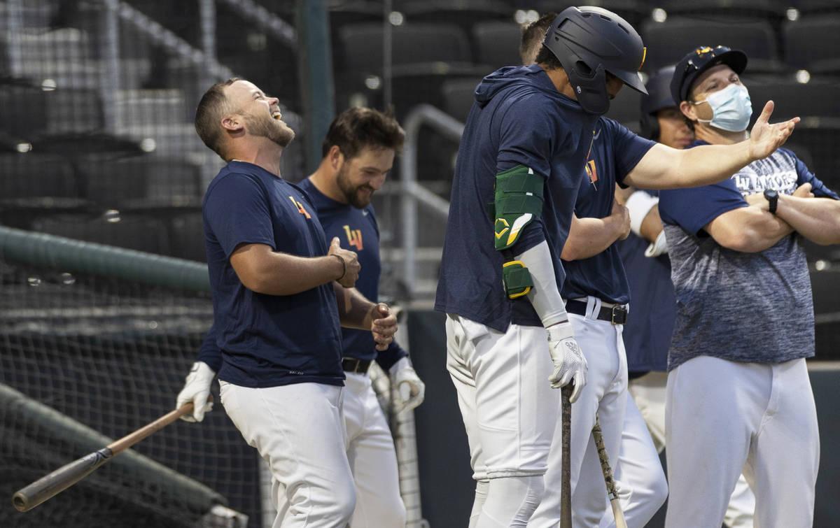 Aviators players joke around during batting practice at Las Vegas Ballpark on Tuesday, May 4, 2 ...