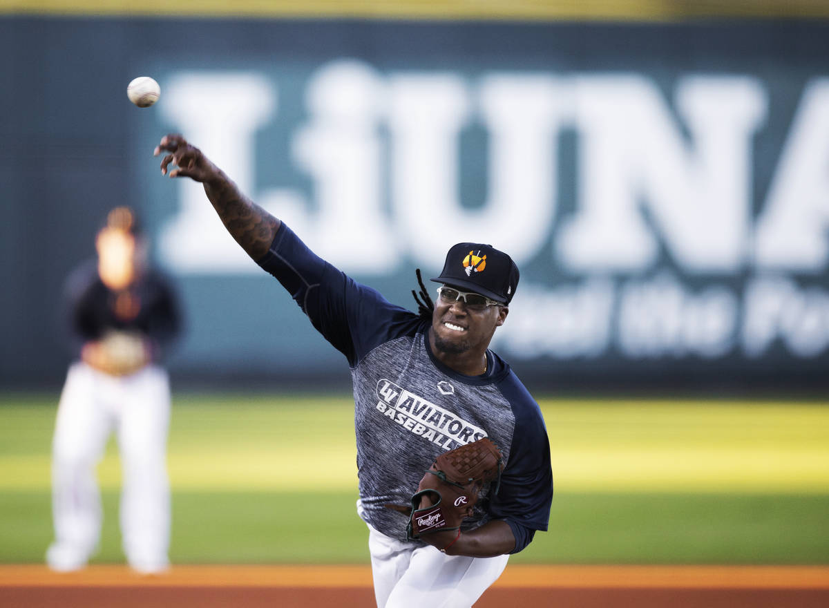 Aviators pitcher Luis Romero pitches in a simulated game during practice at Las Vegas Ballpark ...