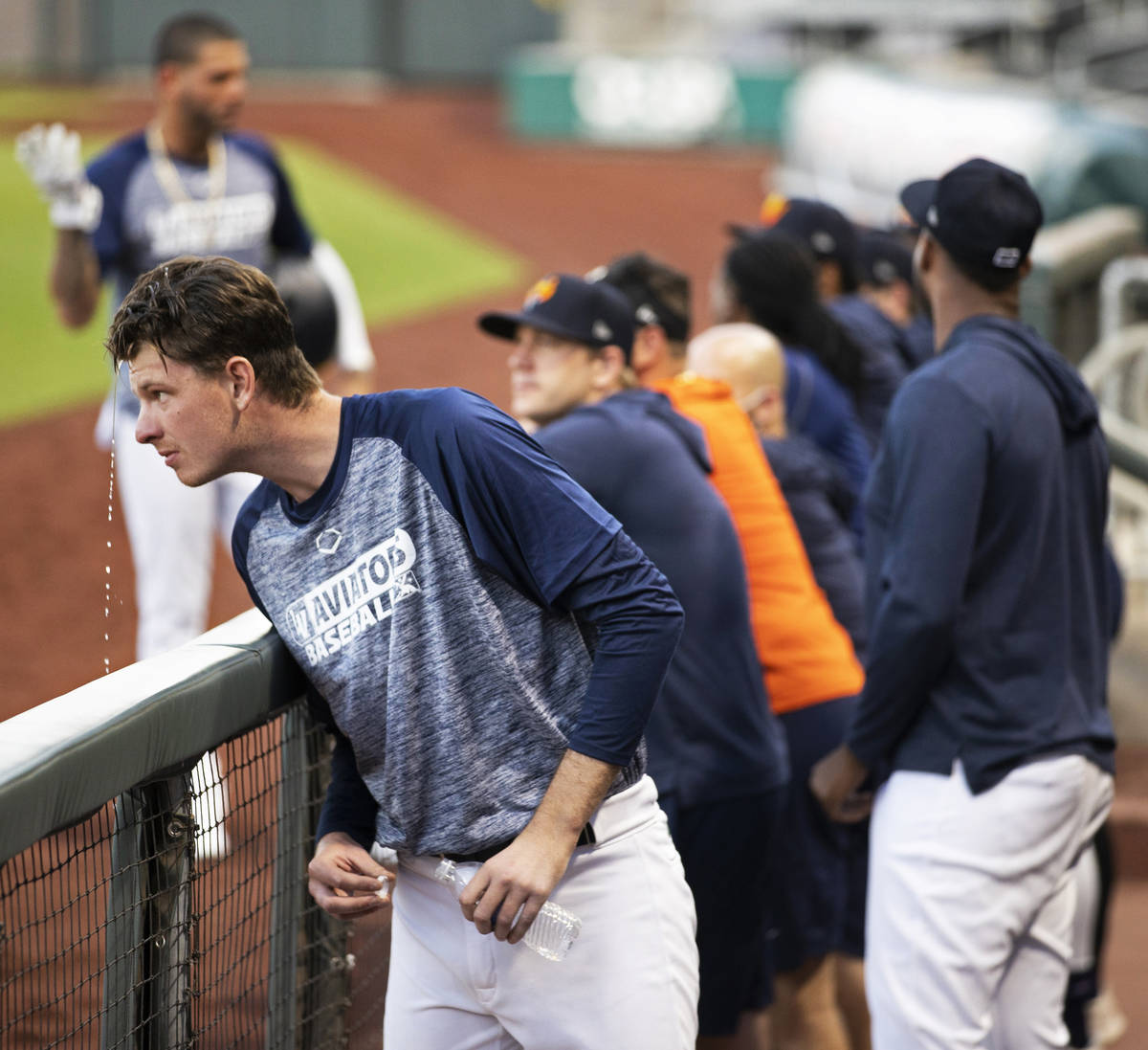 Aviators pitcher Brian Howard, left, cools off during practice at Las Vegas Ballpark on Tuesday ...