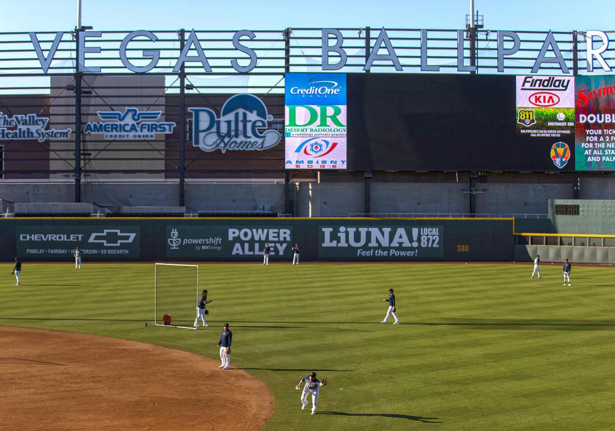 Aviators players run through drills during practice at Las Vegas Ballpark on Tuesday, May 4, 20 ...