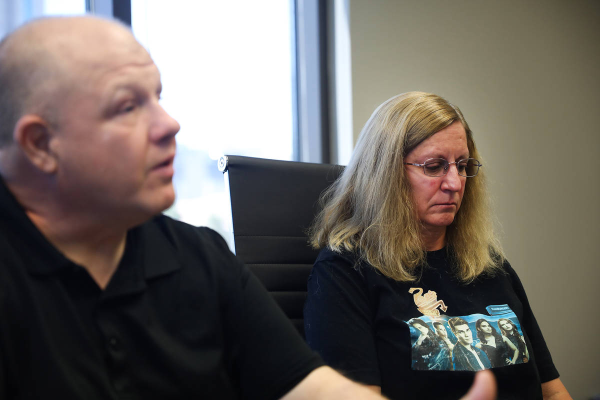 James Bice, left, next to his wife Sheryl Bice, right, speaks to the Review-Journal at the Burg ...