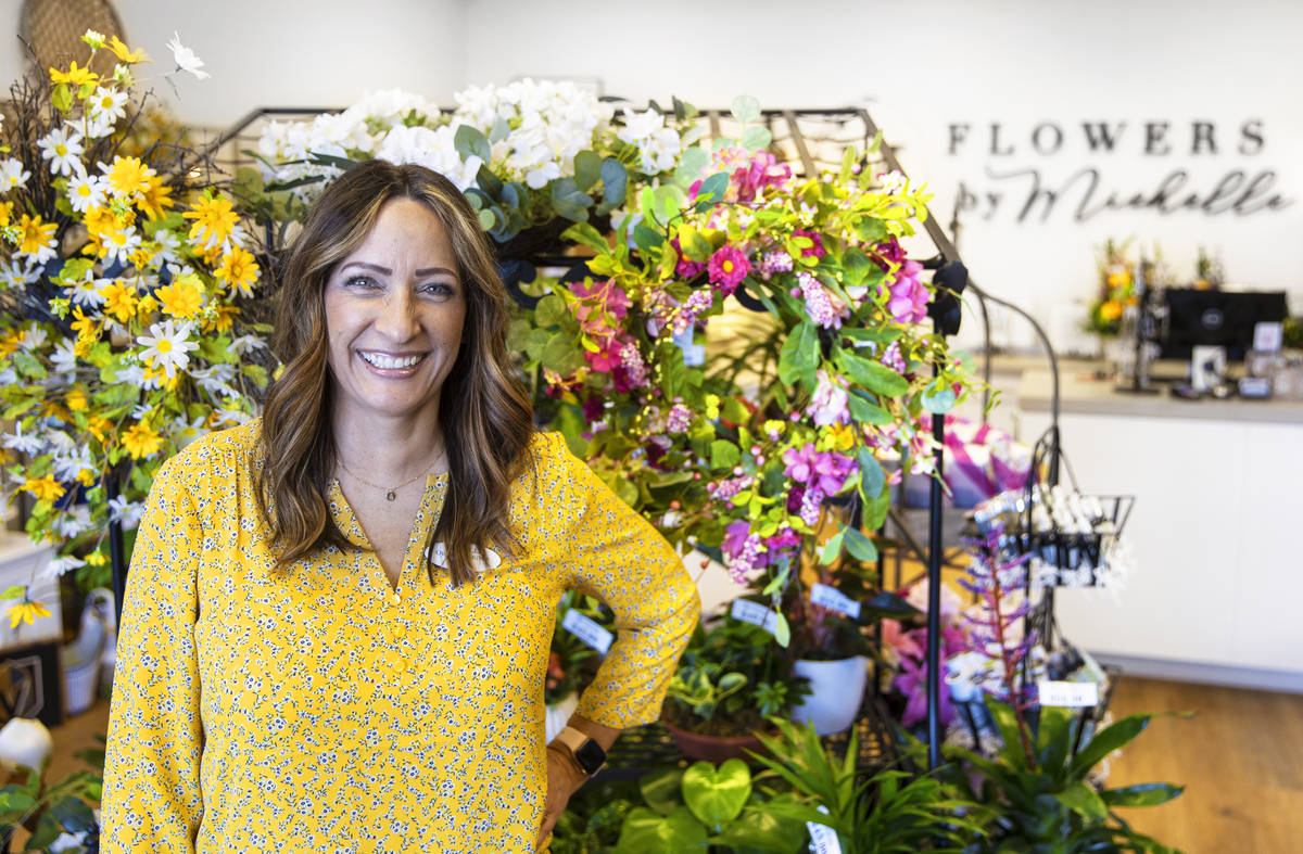 Michelle Jones, owner of Flowers by Michelle, in her northwest valley shop on Wednesday, May 5, ...