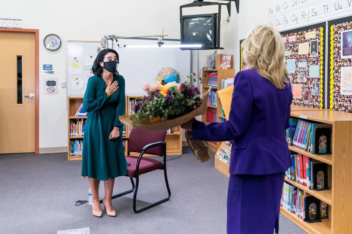 Booker Elementary School special education teacher and learning strategist Juliana Urtubey reac ...