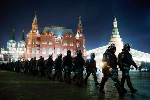Servicemen of the Russian National Guard (Rosgvardia) gather at the Red Square to prevent a pro ...