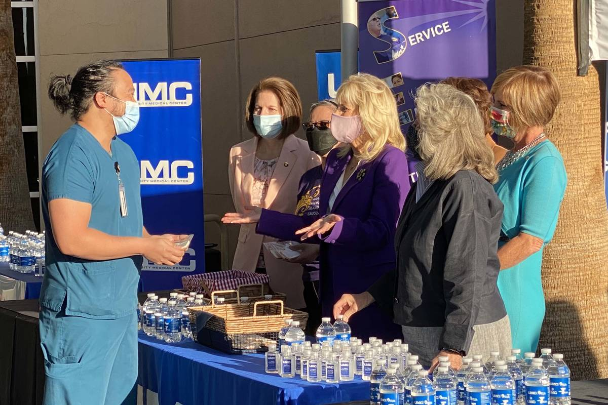 First lady Jill Biden at University Medical Center greeting and thanking nurses on Thursday, Ma ...