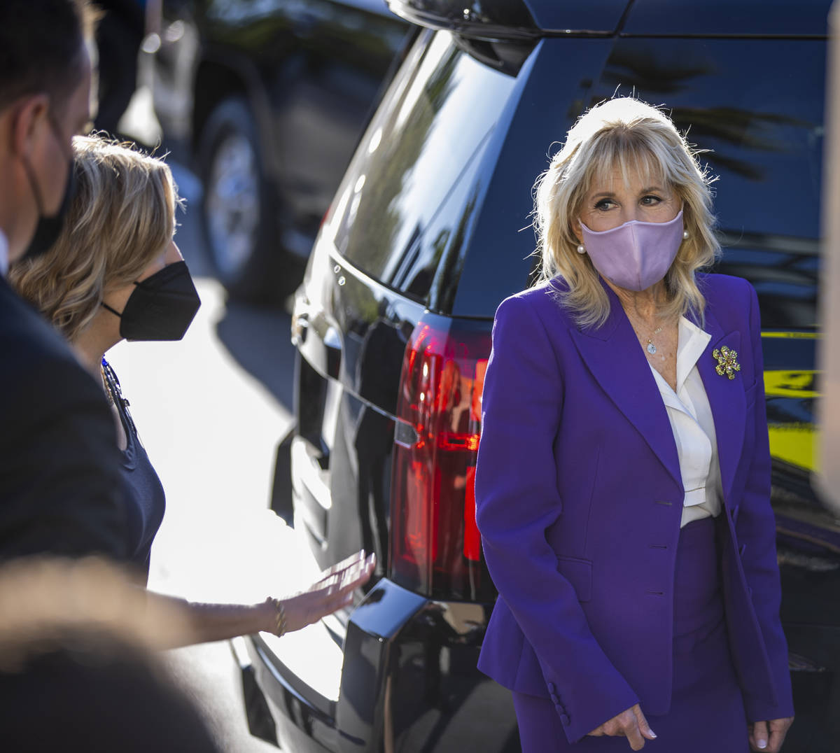 First Lady Jill Biden, right, says goodbye to University Medical Center Chief Experience Office ...