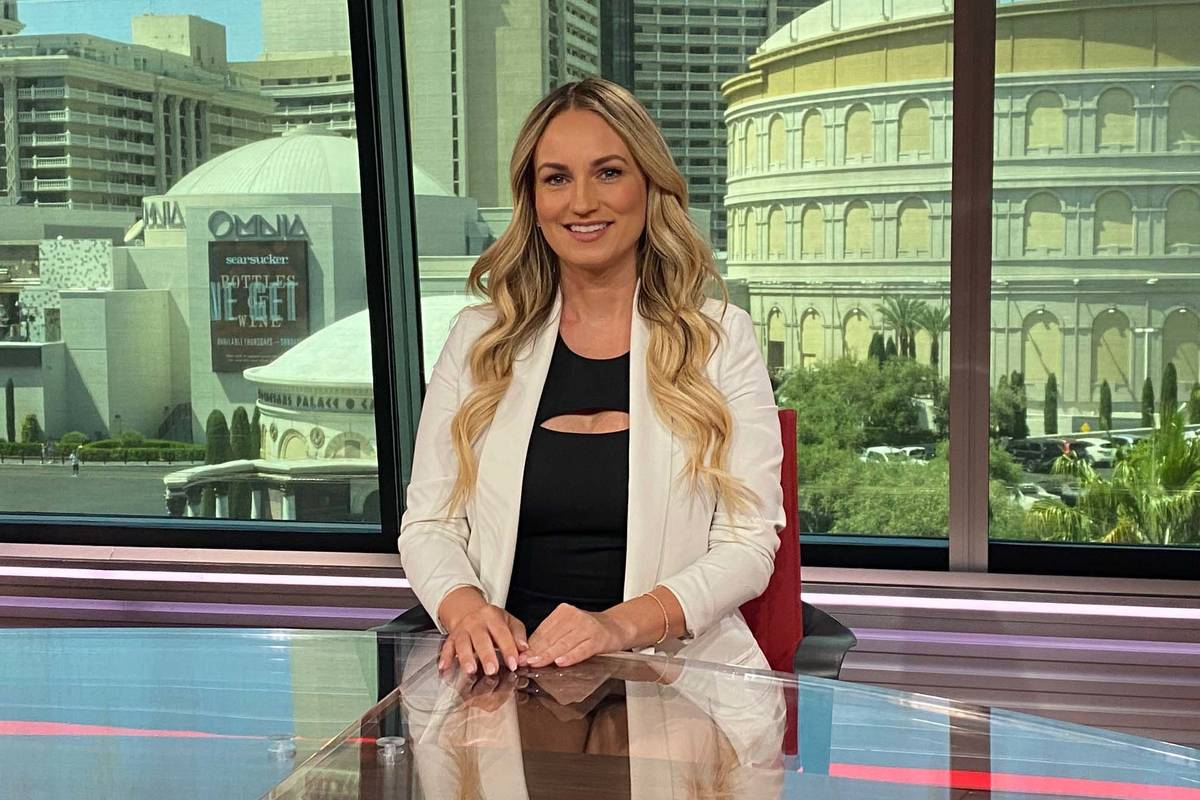 """Kelly Stewart, shown on the set of """"Daily Wager"""" at ESPN's studio at The Linq Hotel, has been h ..."""