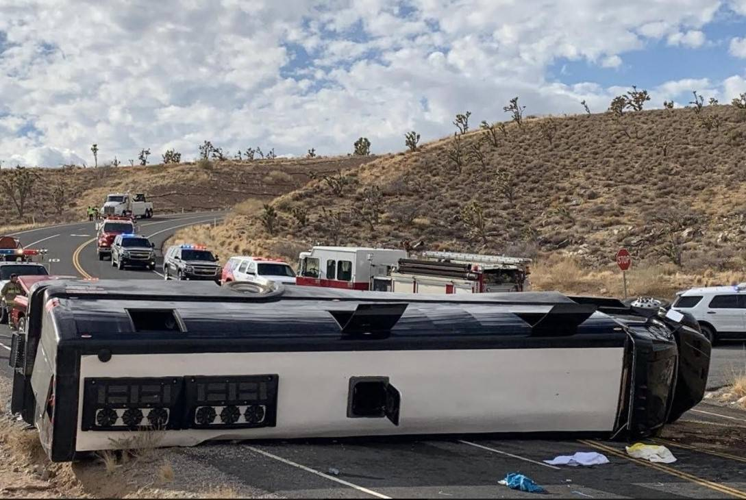 A Las Vegas-based tour bus crashed, Jan. 22, 2021, in Dolan Springs, Ariz. (Mohave County Sheri ...