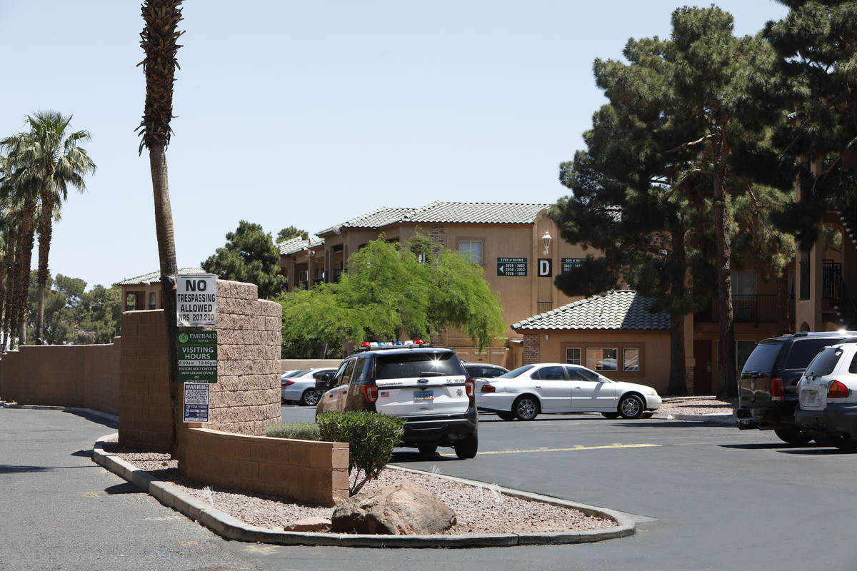 A Las Vegas police car is seen in Emerald Suites on Paradise Road in Las Vegas, Thursday, May 6 ...
