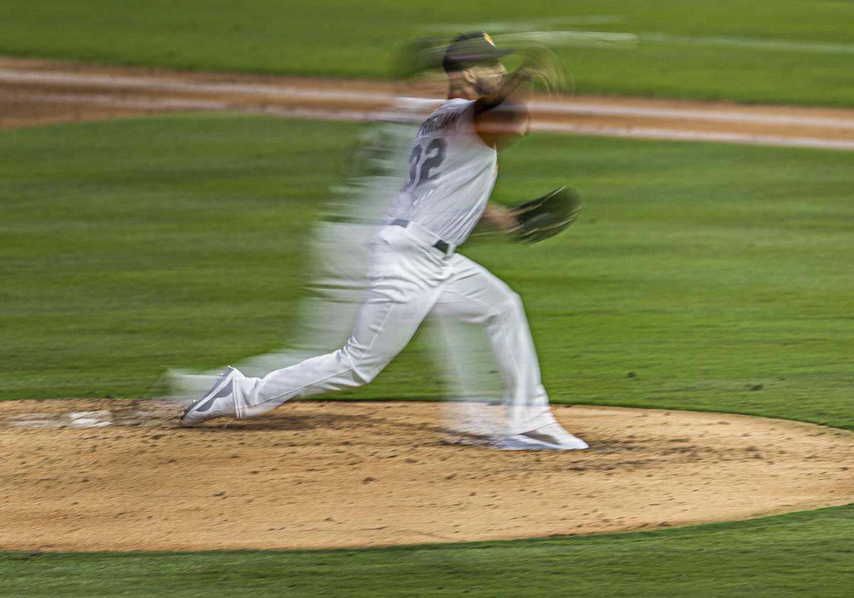 Las Vegas Aviators pitcher James Kaprielian (32) makes a pitch in the bottom of the third innin ...