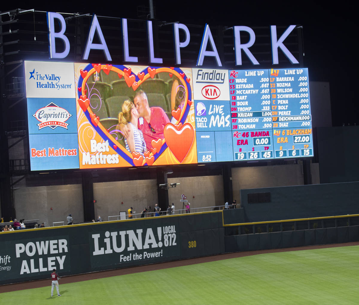 Fans kiss on the kiss cam during a Triple-A baseball game between the Las Vegas Aviators and Sa ...
