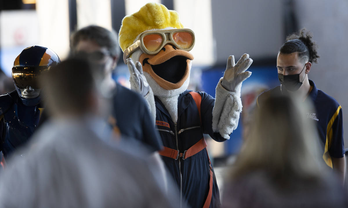 Spruce the Goose fires up fans before the start of a Triple-A baseball game between the Las Veg ...