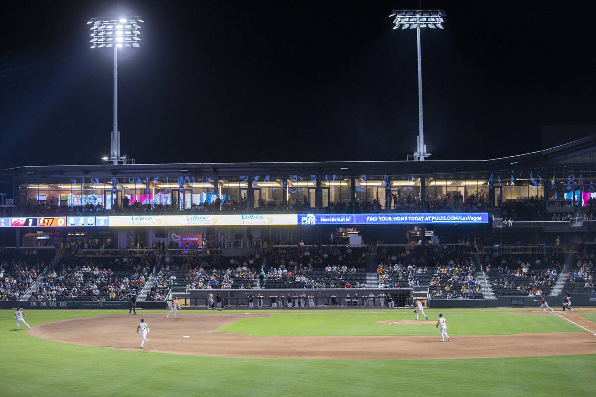 The Las Vegas Aviators pitch to the Sacramento River Cats in the top of the third inning at Las ...