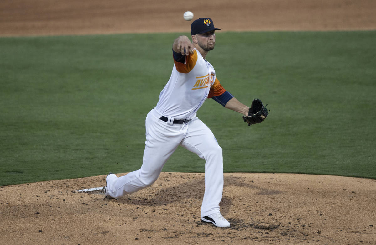 Las Vegas Aviators pitcher James Kaprielian (32) makes a pitch in the bottom of the second inni ...