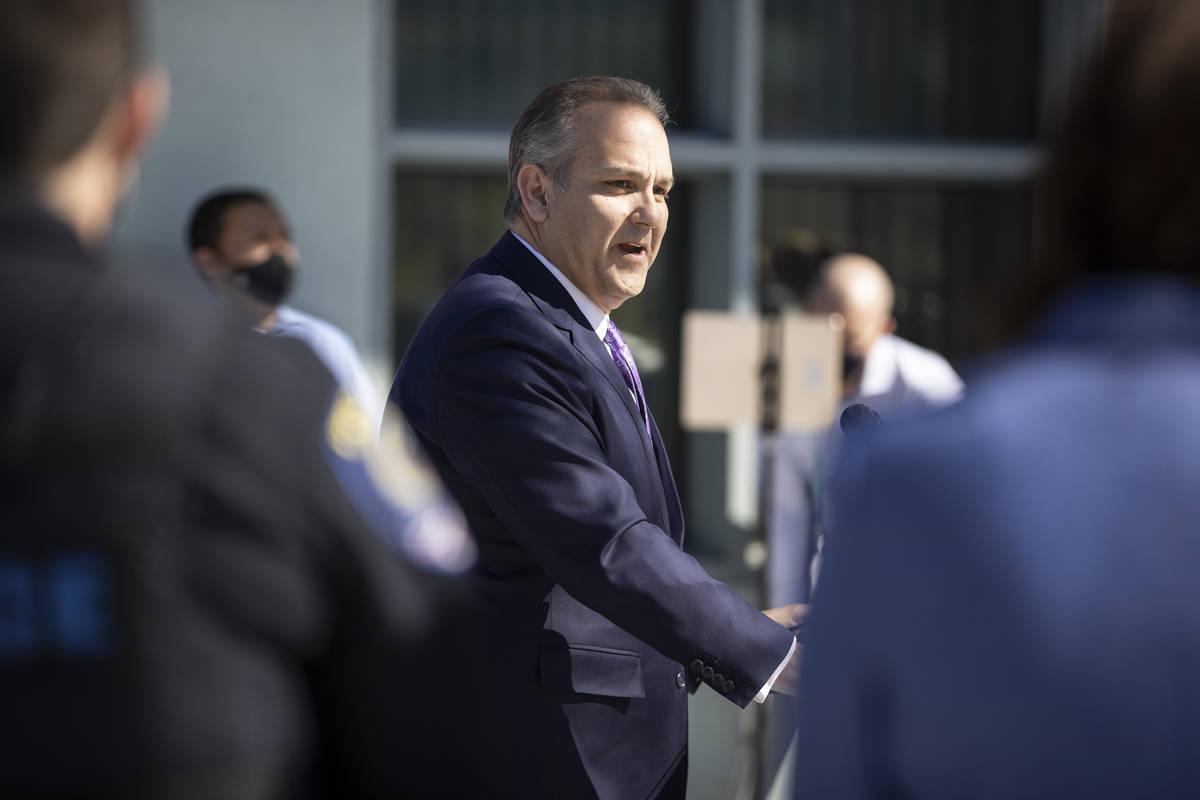 Clark County School District Superintendent Jesus Jara announces the reopening of schools in th ...
