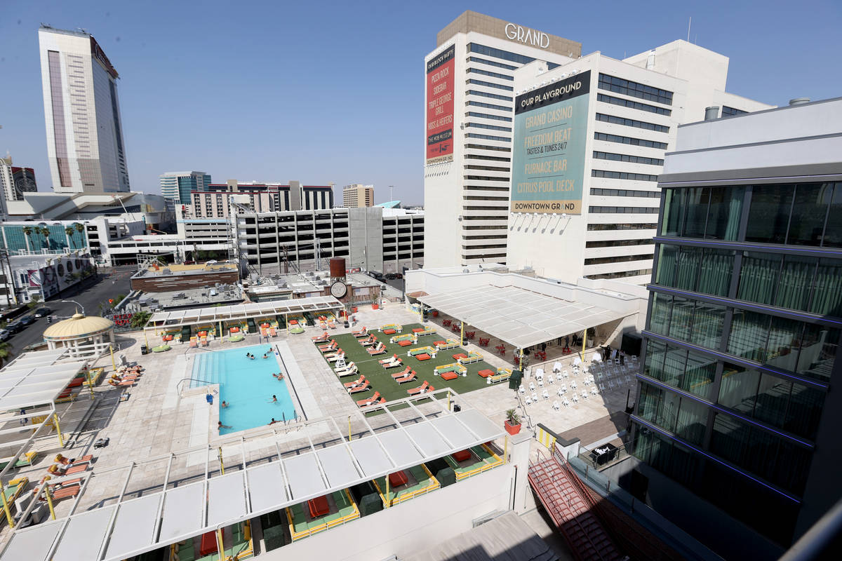 The 495-room Gallery Tower, right, at the Downtown Grand in Las Vegas Tuesday, Sept. 22, 2020. ...
