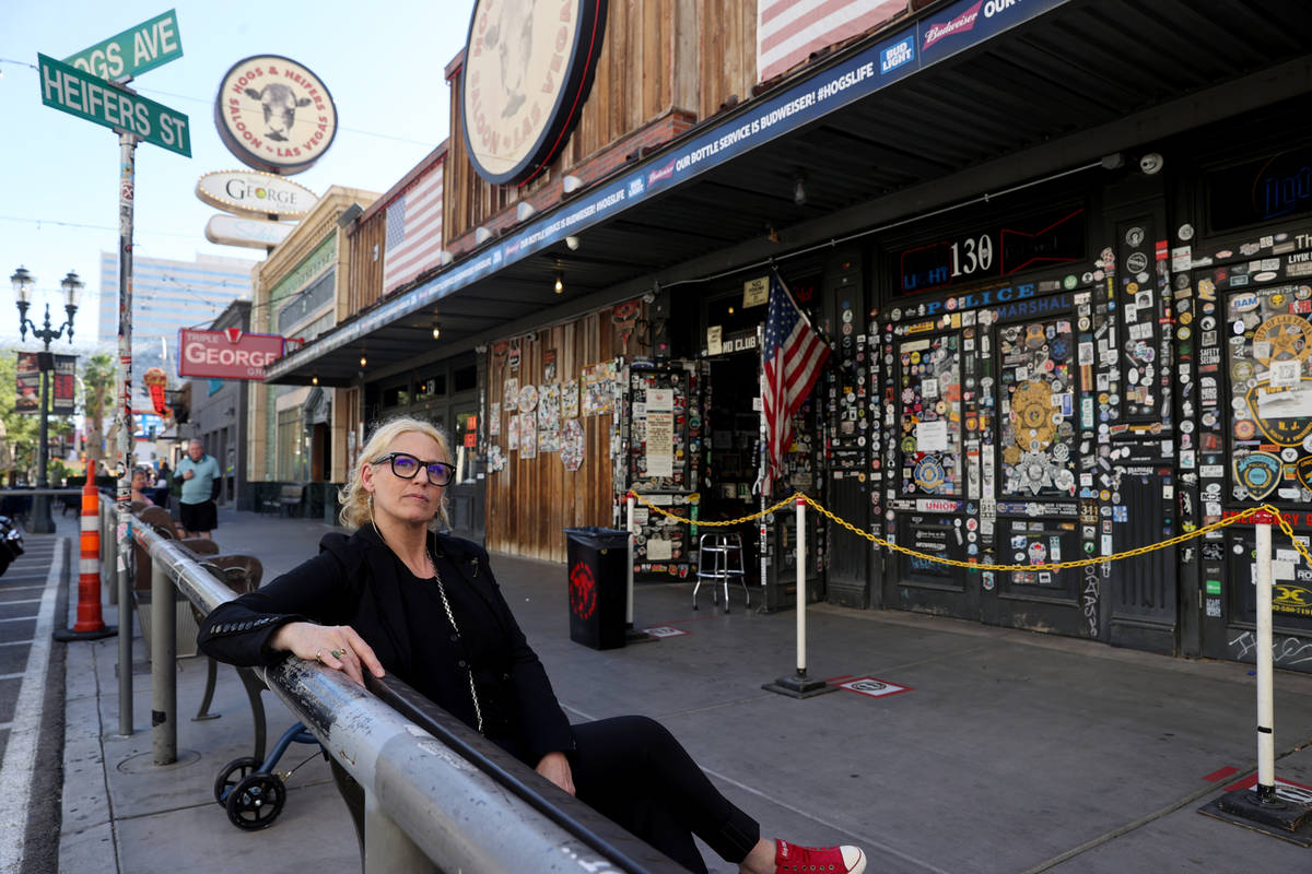 Michelle Dell, owner of Hogs & Heifers Saloon, at her bar on Third Street in downtown Las Vegas ...