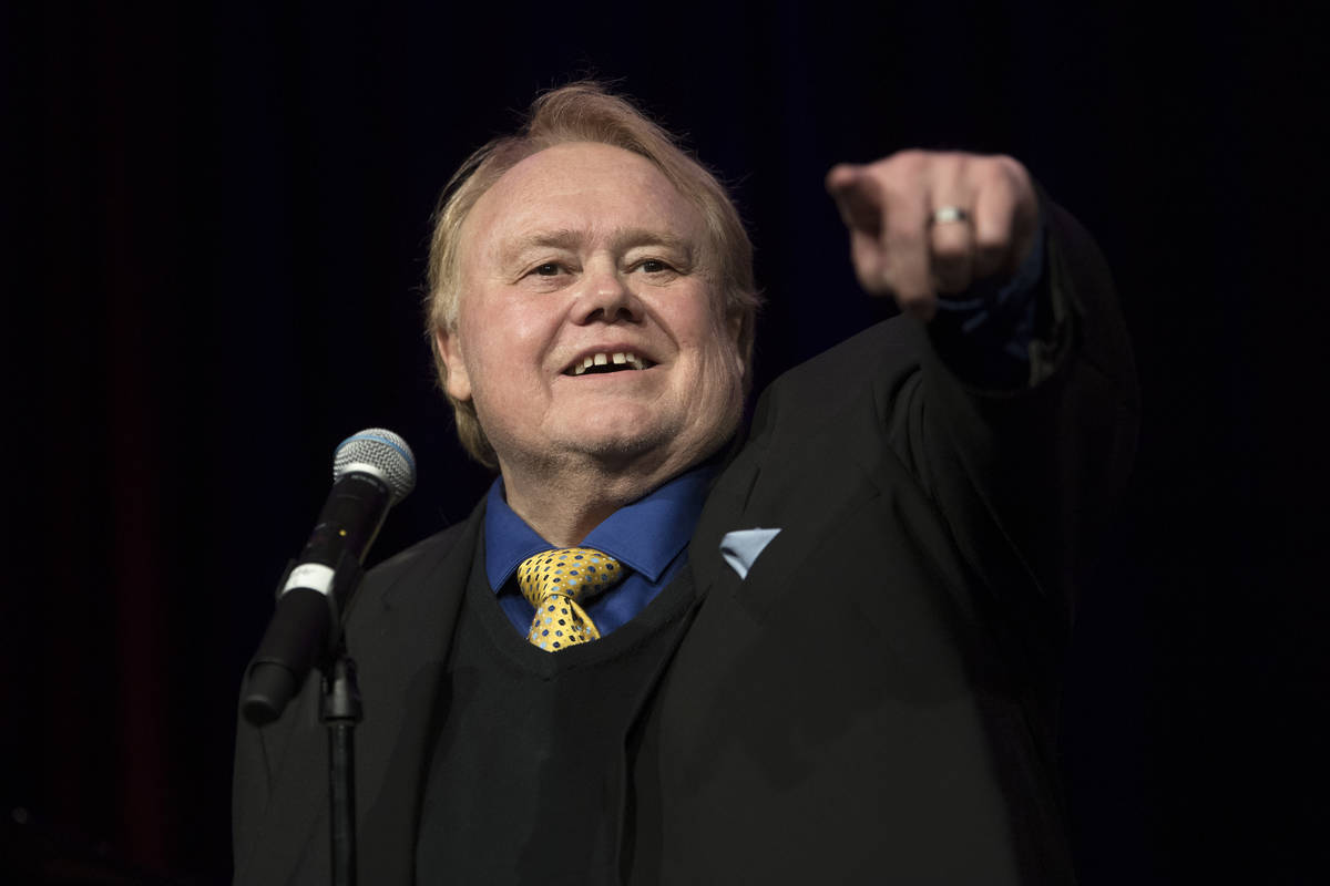 Comedian Louie Anderson reminisces during a memorial for comedian Marty Allen on what would hav ...