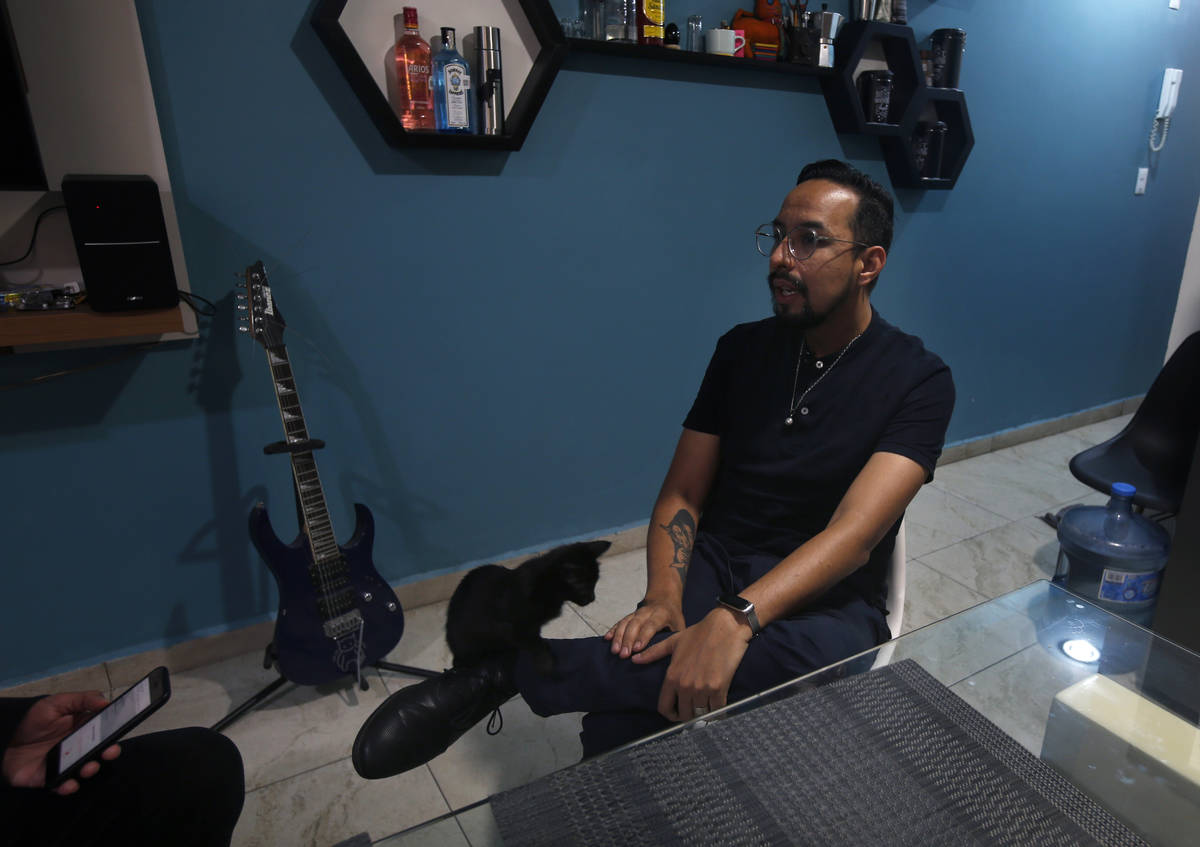 Erik Bravo, 34, a survivor of Monday's subway collapse, speaks during an interview in Mexico Ci ...
