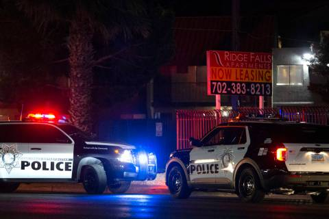 Las Vegas police investigate the scene where an officer opened fire near the 3000 block of East ...
