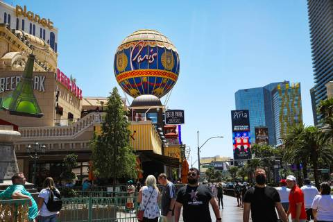 Paris Las Vegas on the Strip in Las Vegas, Monday, May 3, 2021. (Rachel Aston/Las Vegas Review- ...
