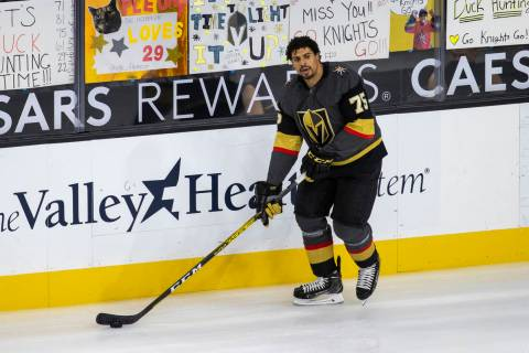 Golden Knights right wing Ryan Reaves (75) skates by handwritten signs from fans during the war ...